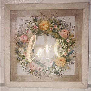 Wall Art - Ashland framed Wall art floral wreath & gold love
